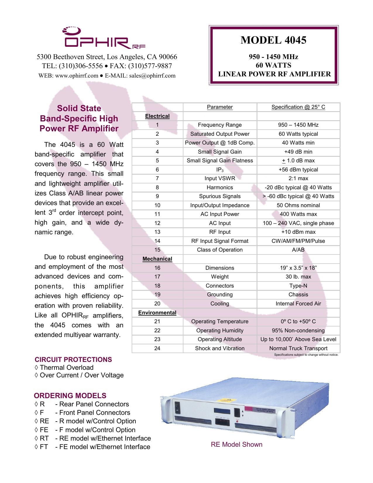 ophir rf model amplifier | manualzz com