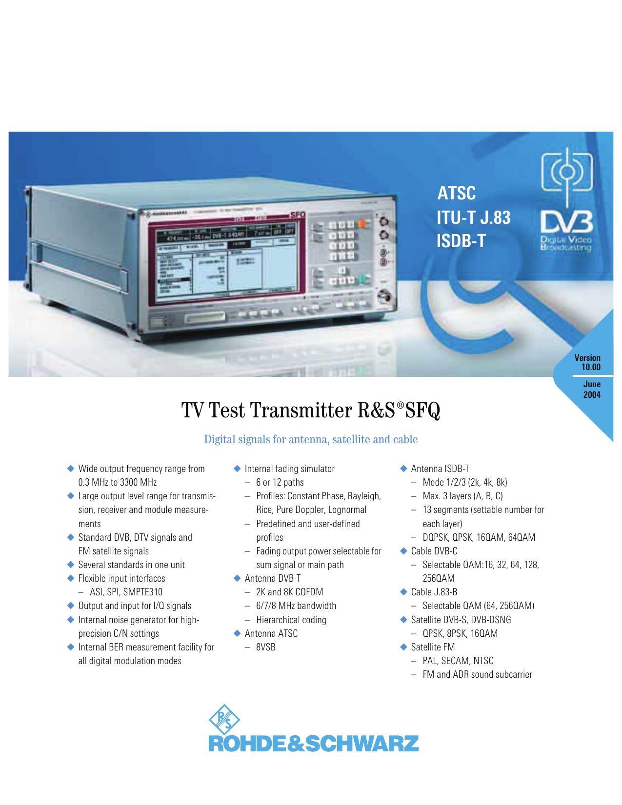 TV Test Transmitter ¸SFQ | manualzz com