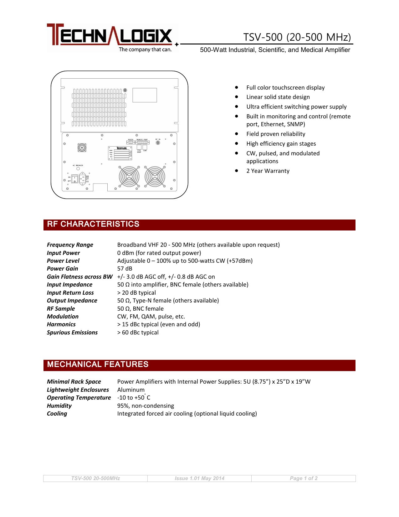 TSV-500 (20-500 MHz) | manualzz com