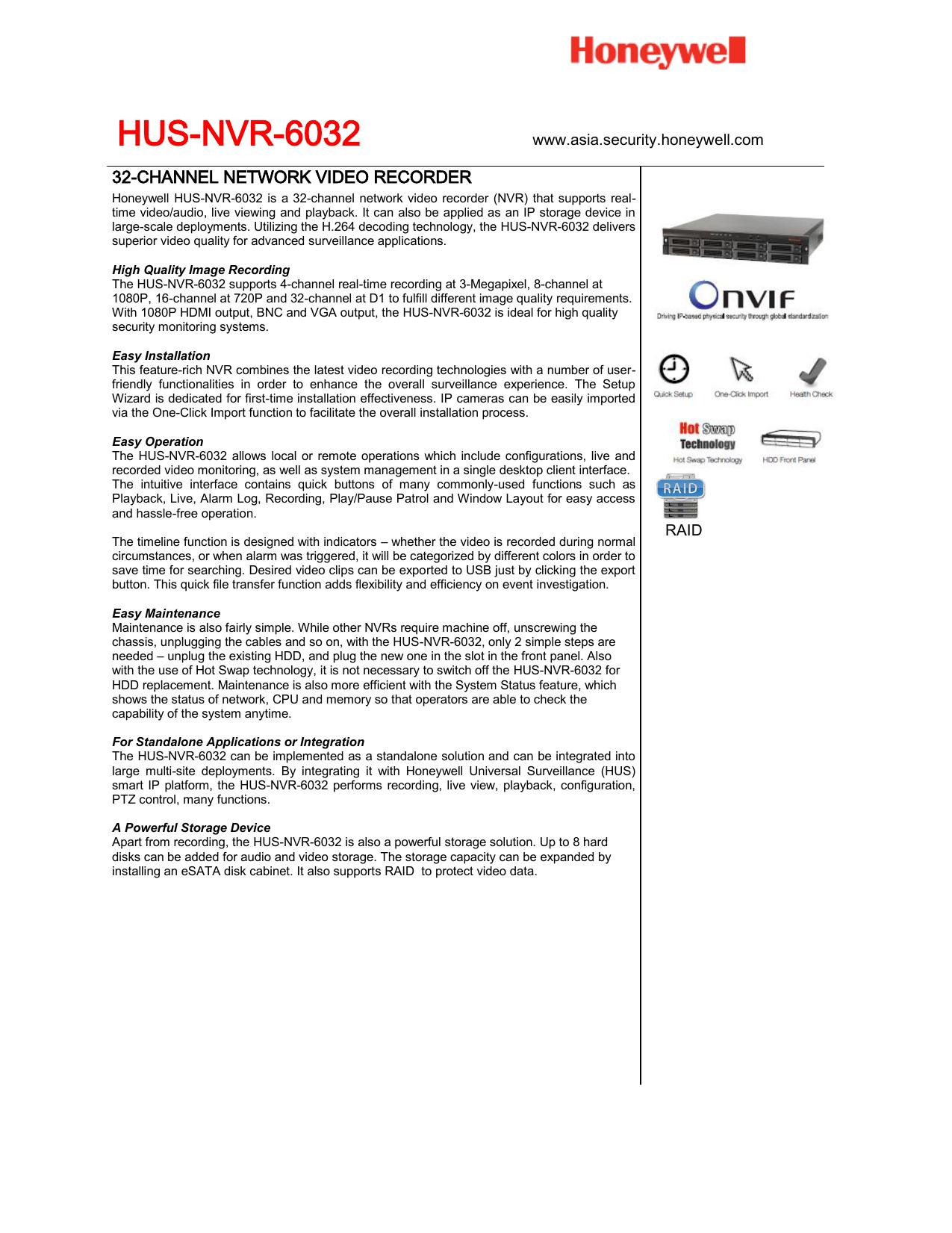 HUS-NVR-6032 - Honeywell Partner Connect | manualzz com