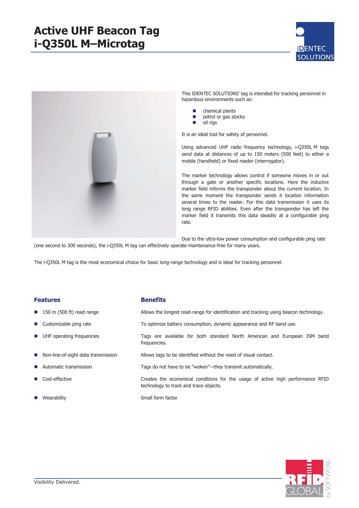 Active UHF Beacon Tag i-Q350L M–Microtag | manualzz com