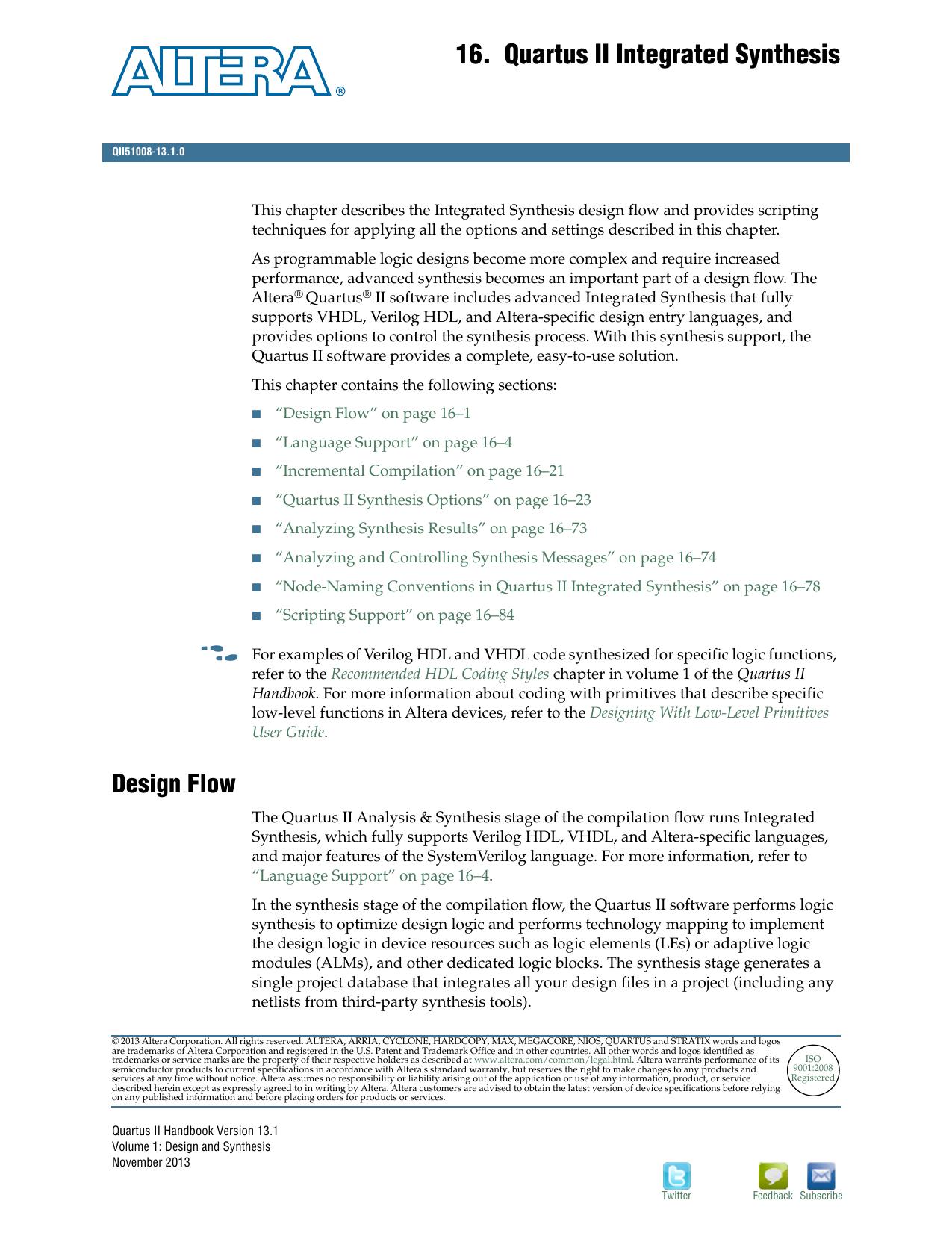 Quartus II Integrated Synthesis, Quartus II Handbook | manualzz com