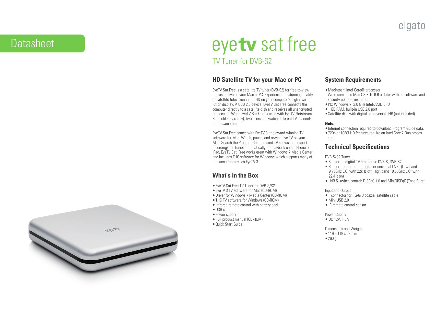 Datasheet-EyeTV Sat Free-DE-EN-FR indd | manualzz com