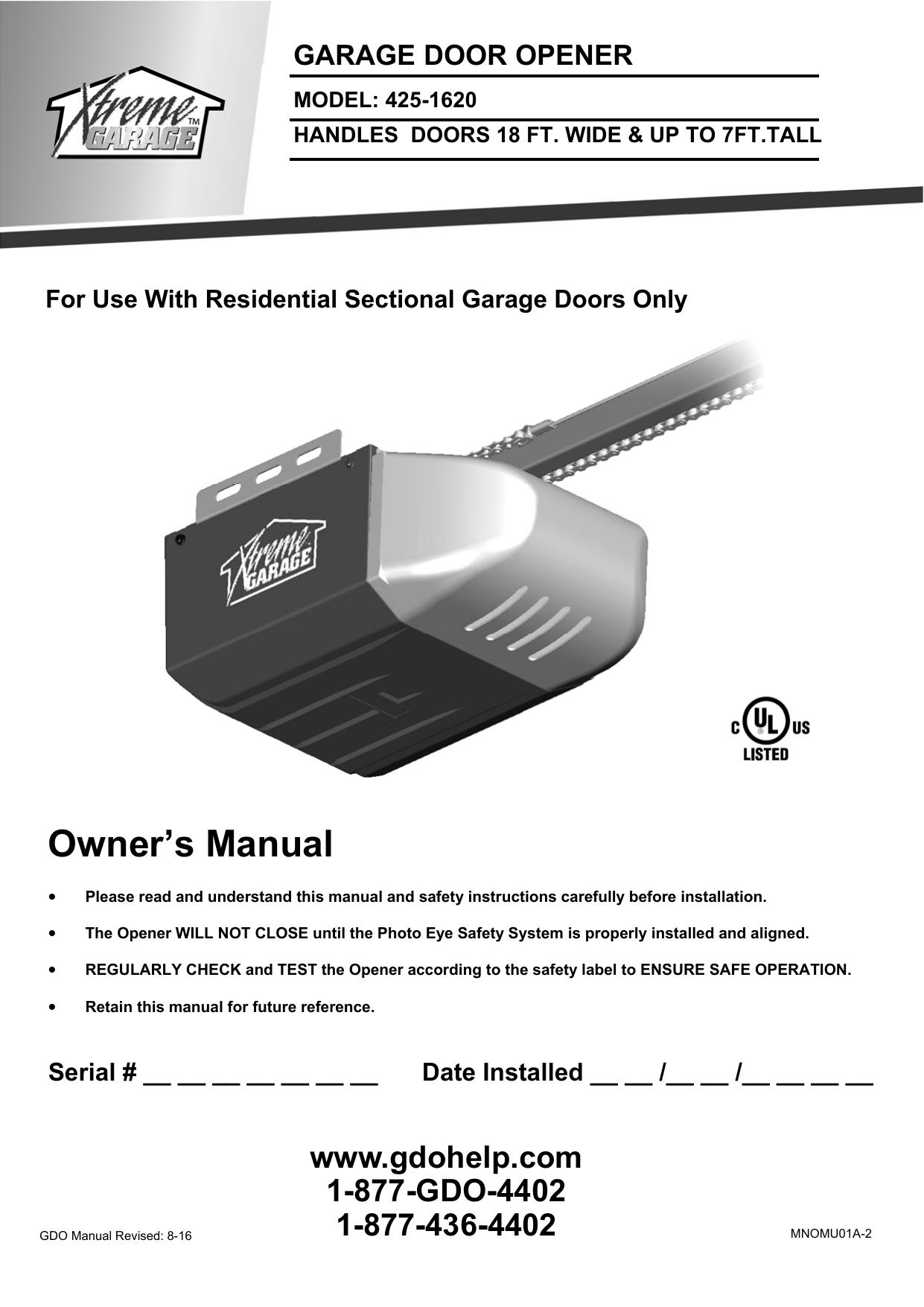 Owner S Manual Xtreme Garage Manualzz Com