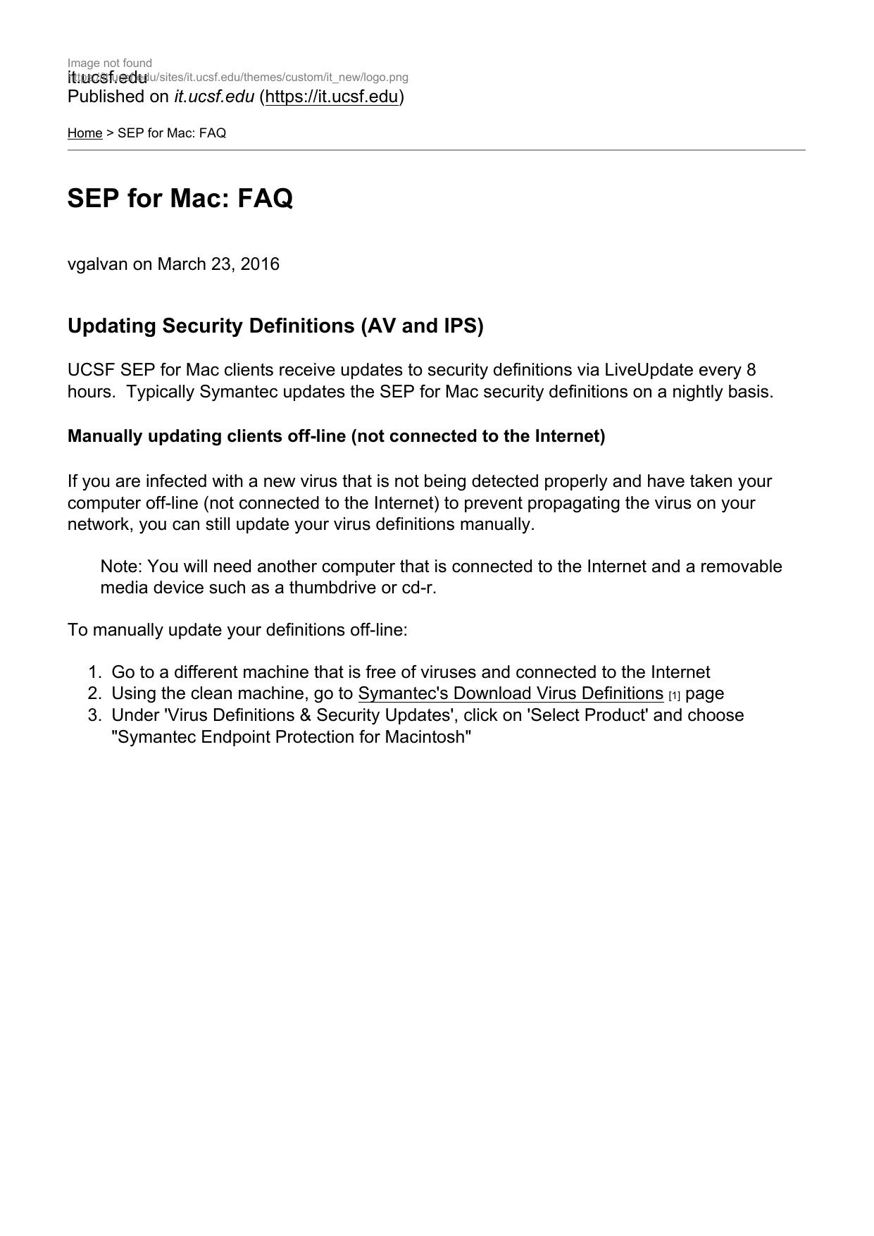 SEP for Mac: FAQ - UCSF IT Service Desk   manualzz com