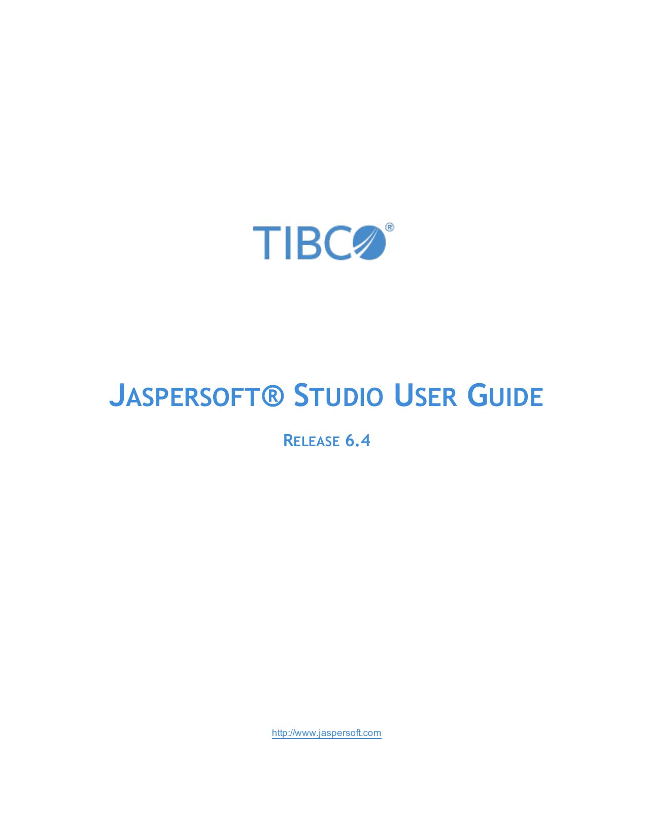 TIBCO Jaspersoft Studio User Guide | manualzz com