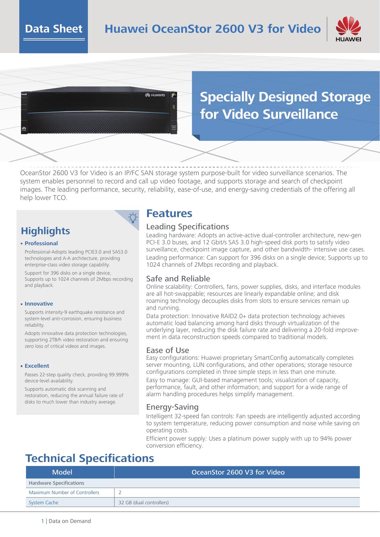 Huawei OceanStor 2600 V3 Storage System (Video Surveillance