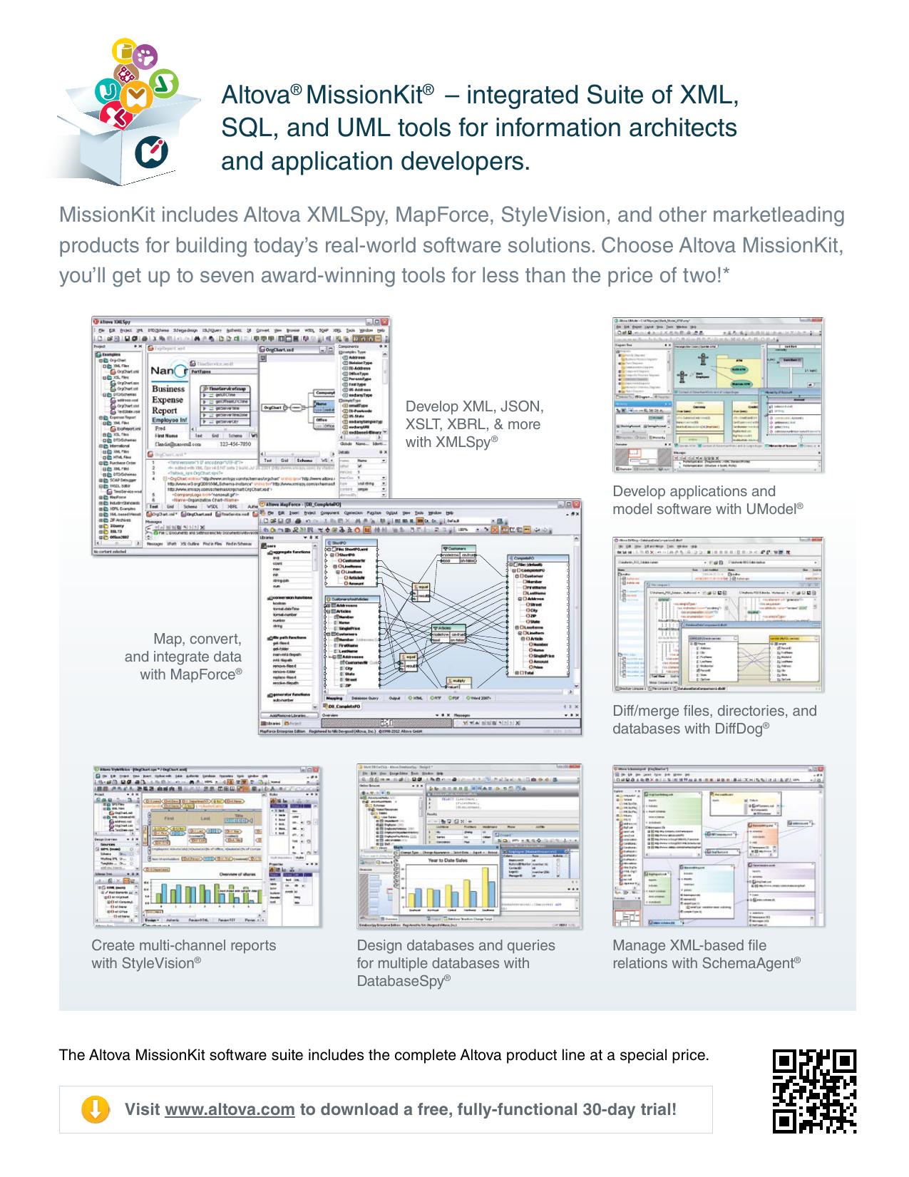 Altova® MissionKit® – integrated Suite of XML, SQL, and UML