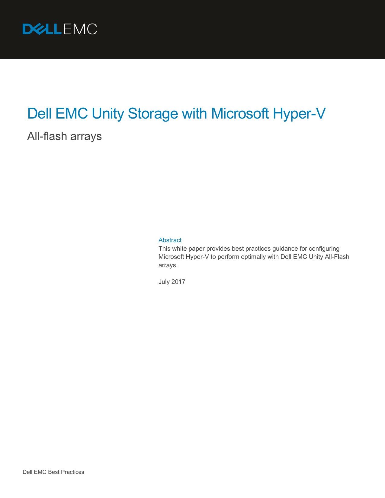 Dell EMC Unity Storage with Microsoft Hyper-V | manualzz com