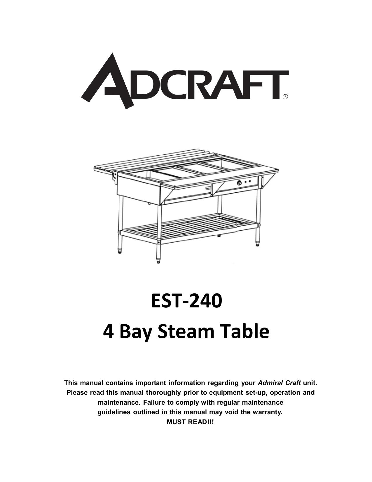 Adcraft EST-240 Water Bath Steam Table