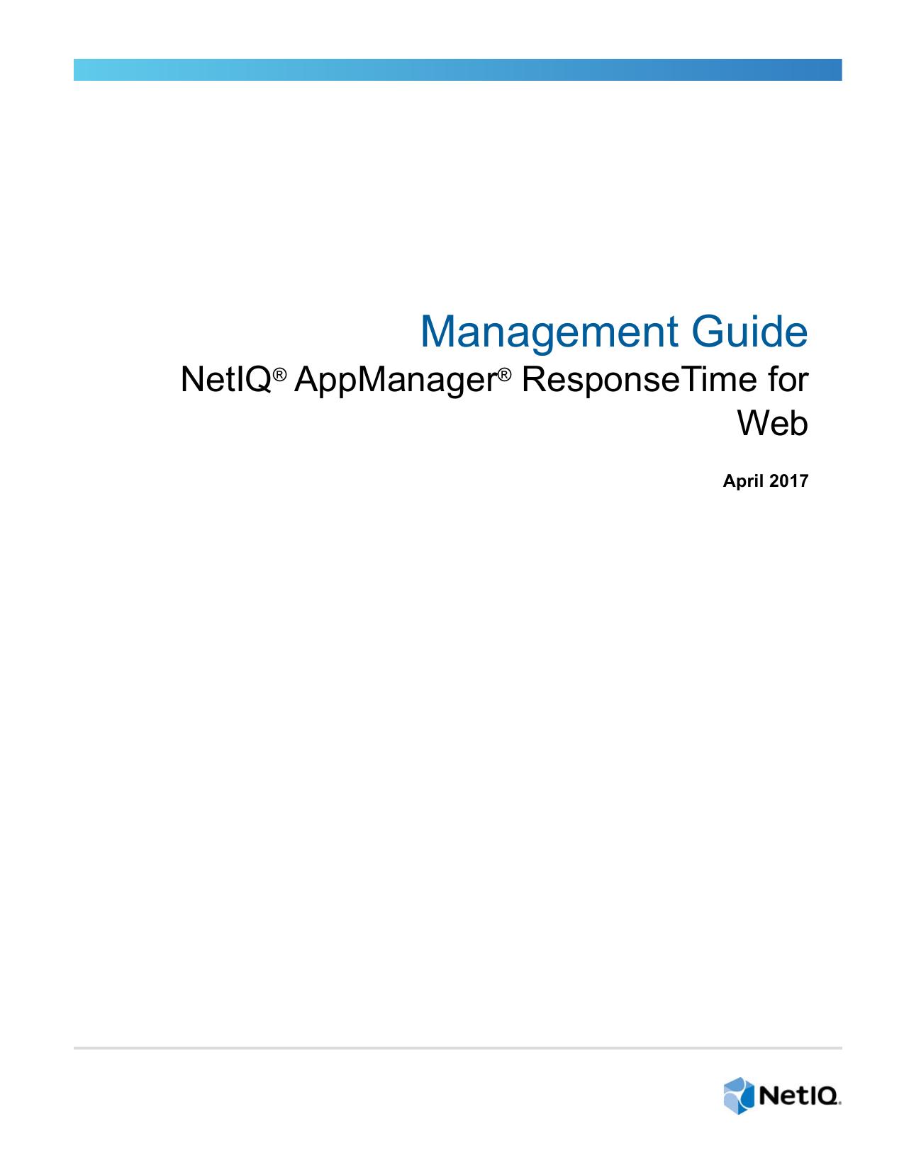 NetIQ AppManager ResponseTime for Web Management Guide   Manualzz