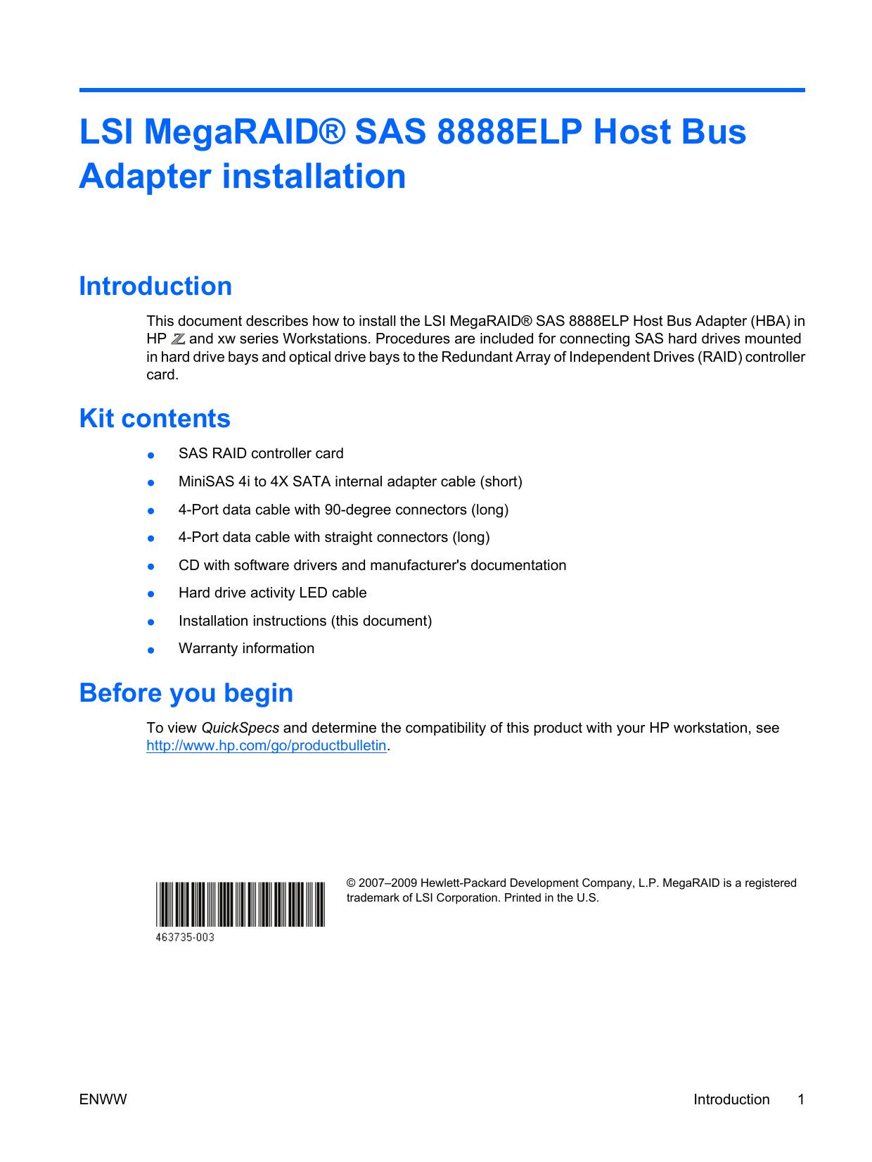 LSI MegaRAID® SAS 8888ELP Host Bus Adapter installation