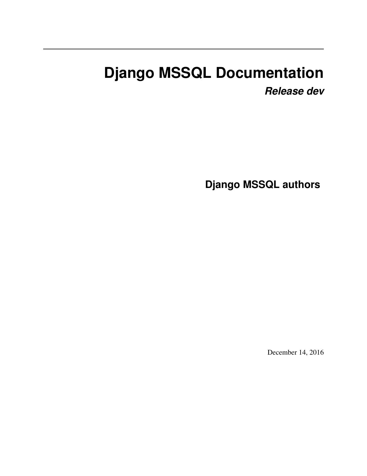 Django MSSQL Documentation   manualzz com