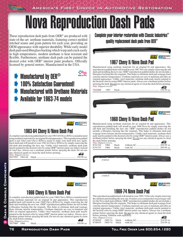 BLACK OER Nova Instrument Panel Dash Board Pad 63-64 Chevy II
