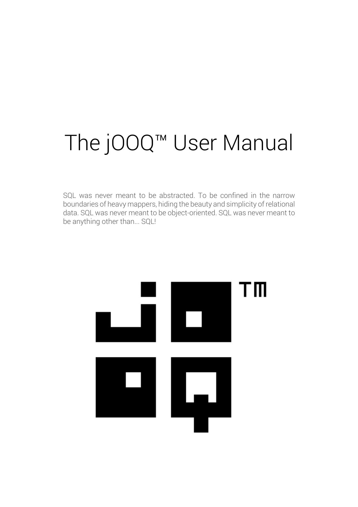 The jOOQ™ User Manual | manualzz com