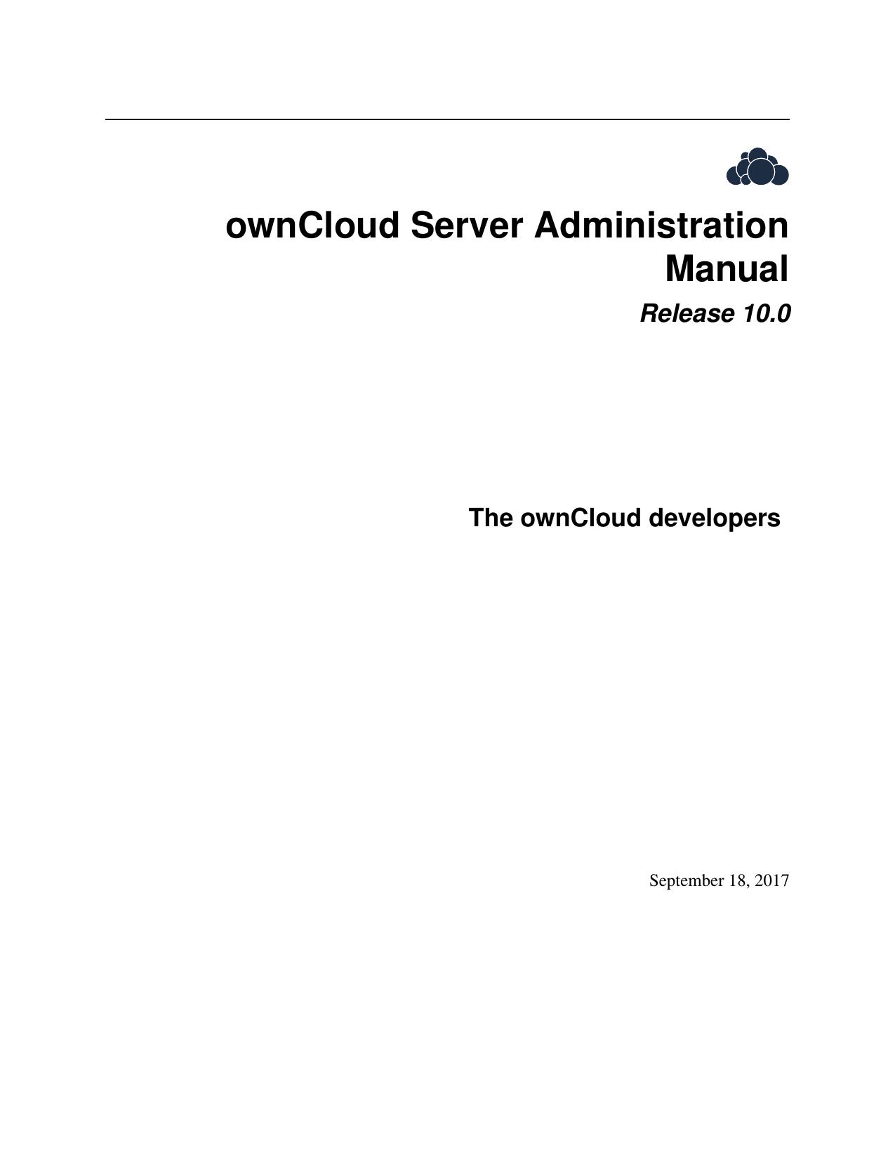ownCloud Server Administration Manual | manualzz com