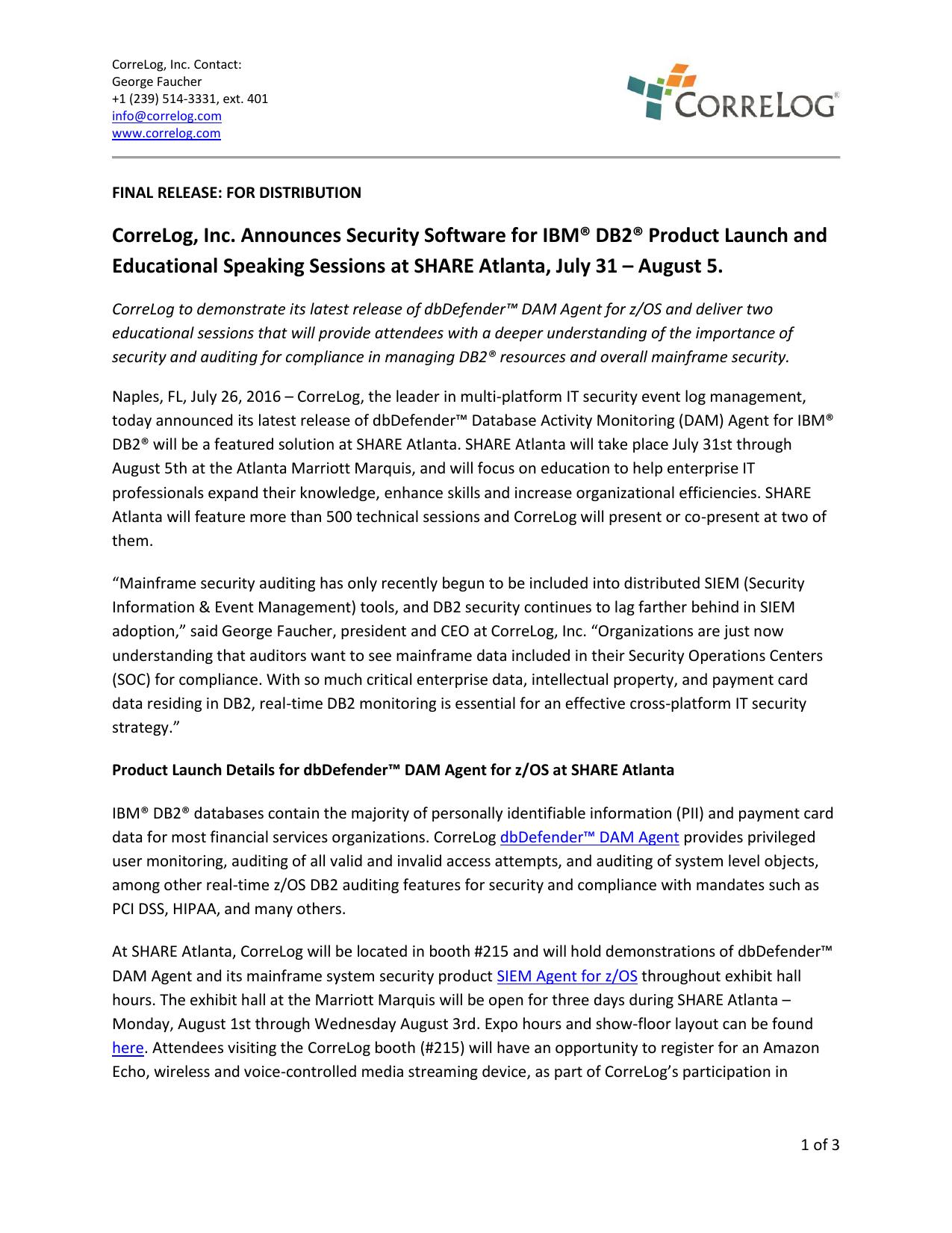 CorreLog, Inc  Announces Security Software for IBM® DB2