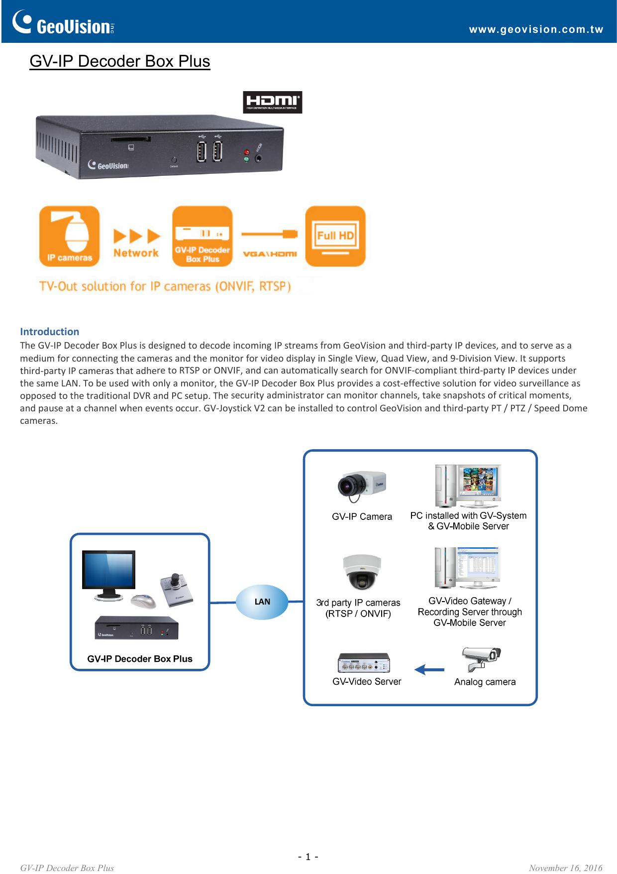 GV-IP Decoder Box Plus | manualzz com
