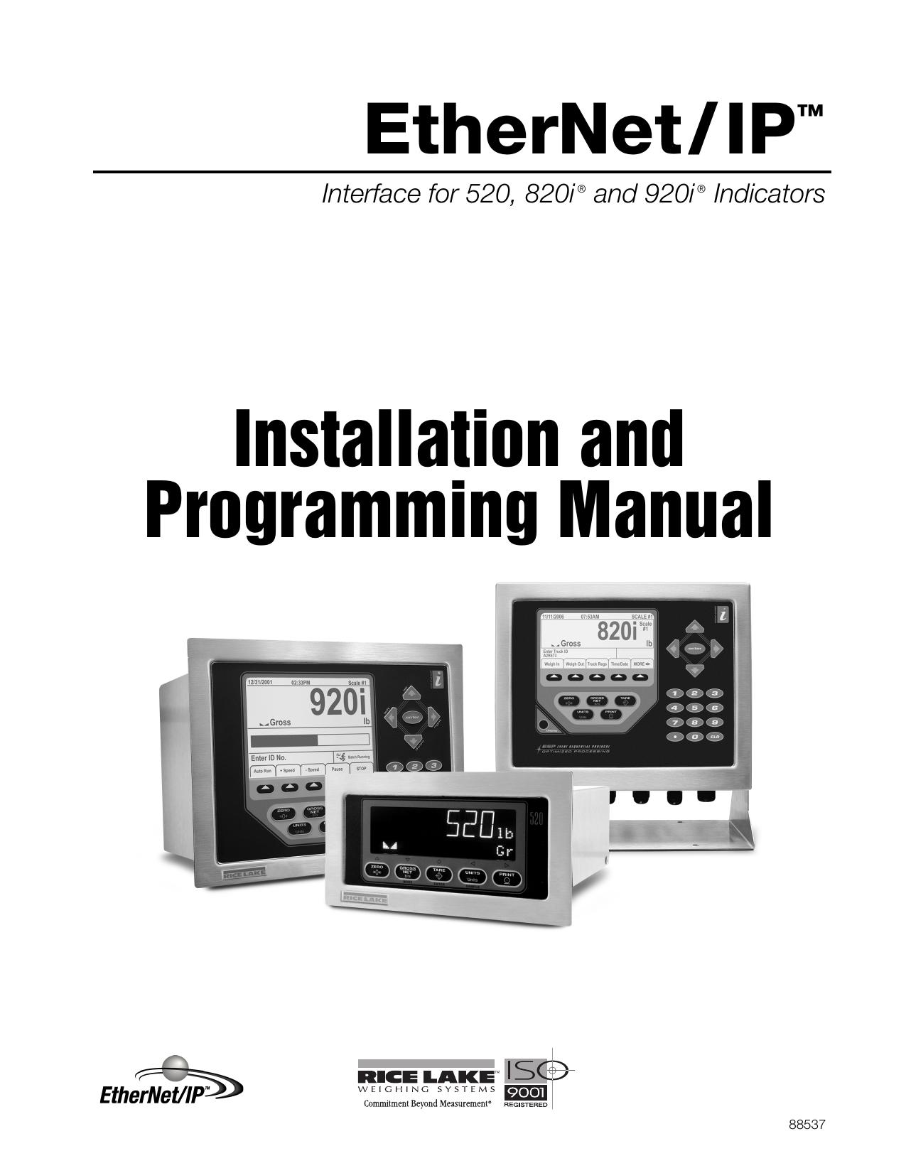 EtherNet/IP™ Installation and Programming Manual | manualzz com