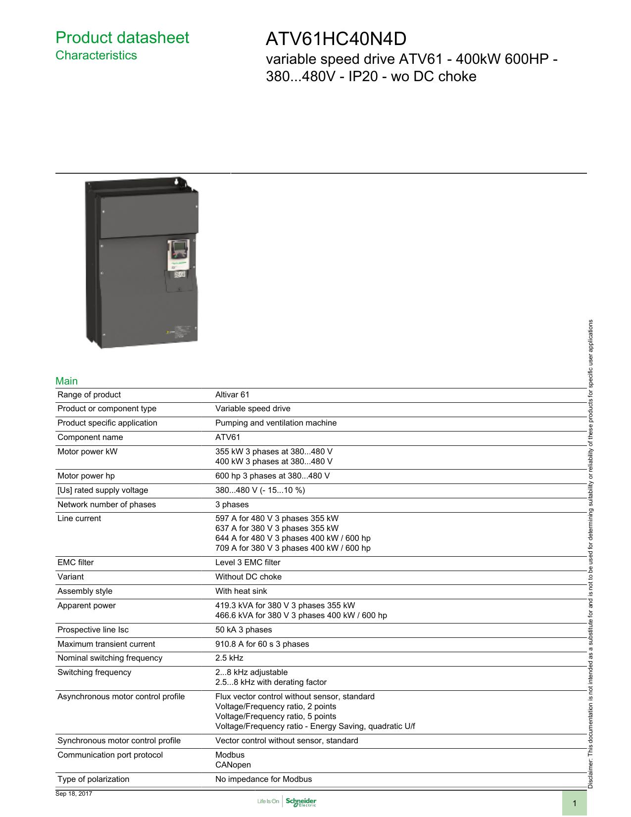 ATV61HC40N4D - Schneider Electric | manualzz com
