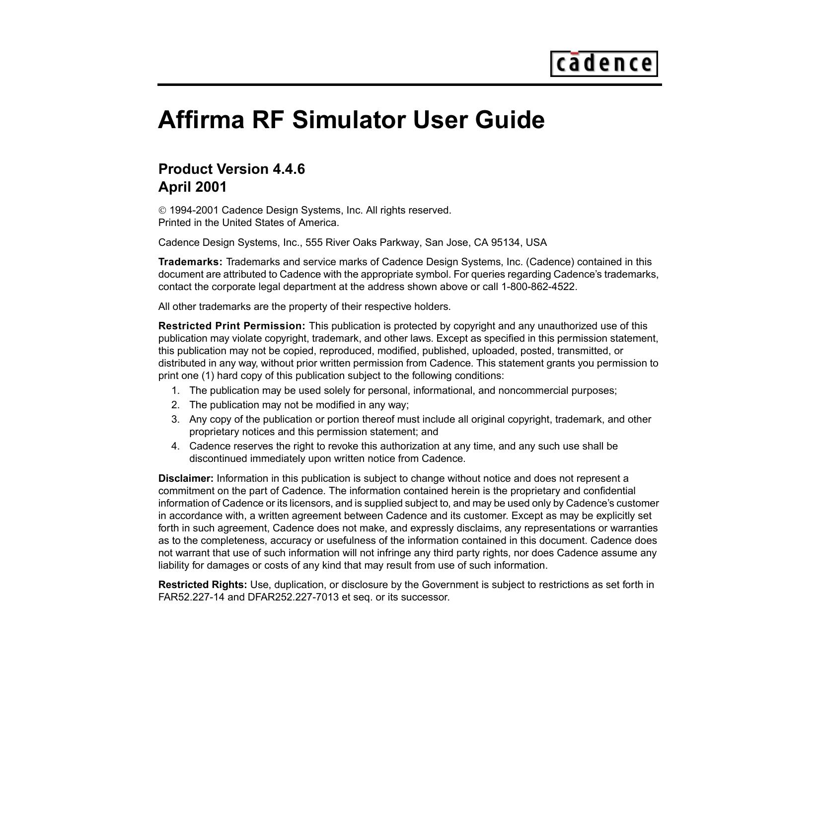 affirma rf simulator spectrerf user guide