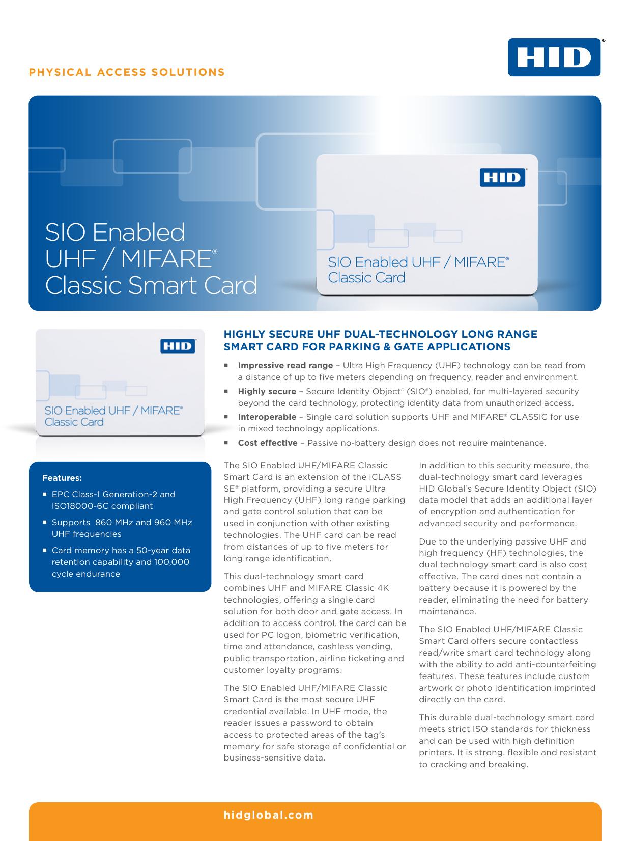 SIO Enabled UHF / MIFARE® Classic Smart Card   manualzz com