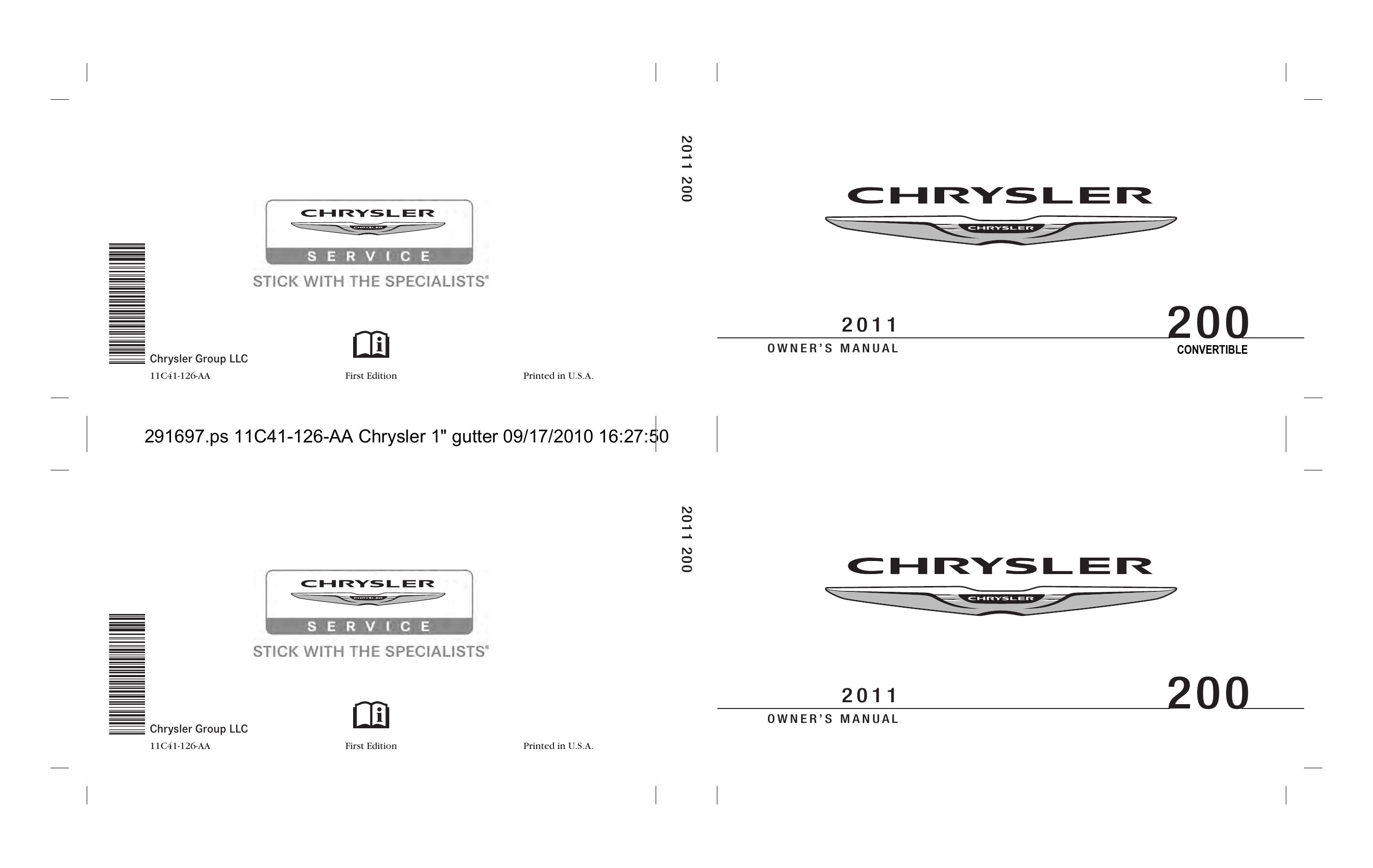 2011 Chrysler 200 Convertible Owner`s Manual | manualzz com