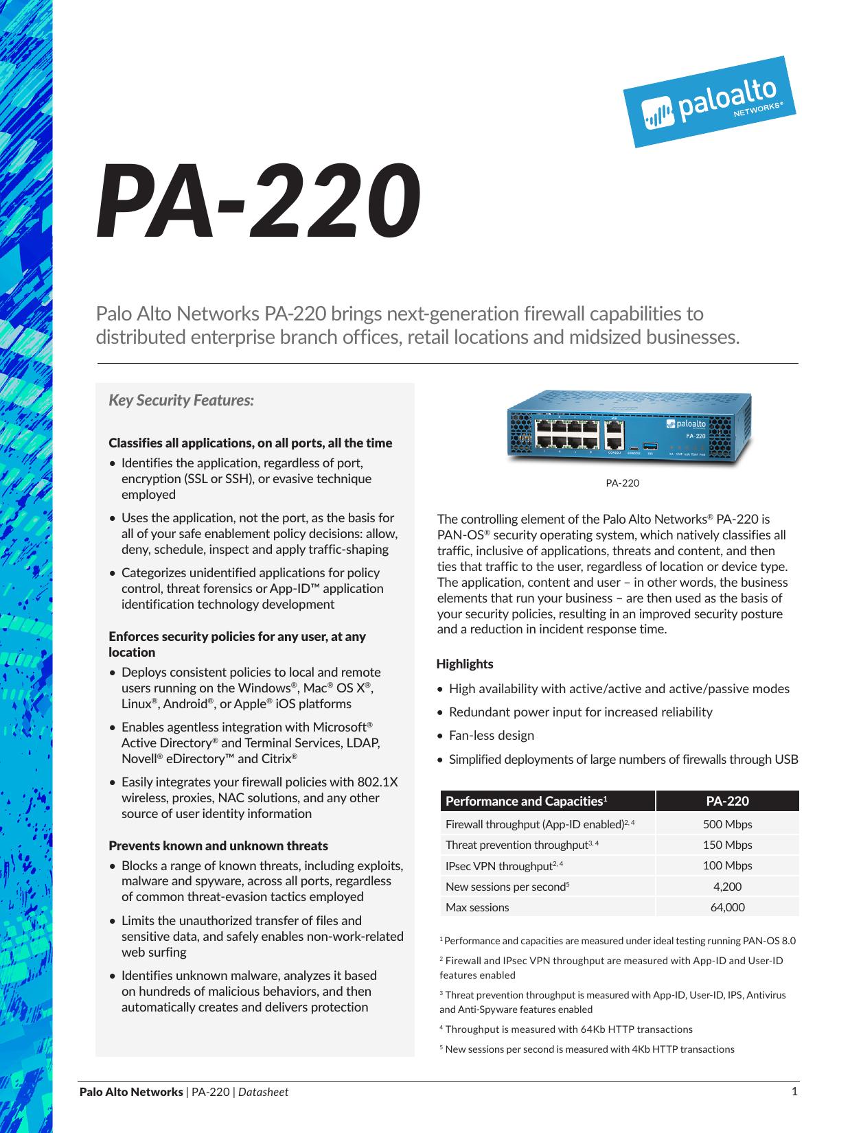 Palo Alto Networks PA-220 brings next-generation firewall | manualzz com