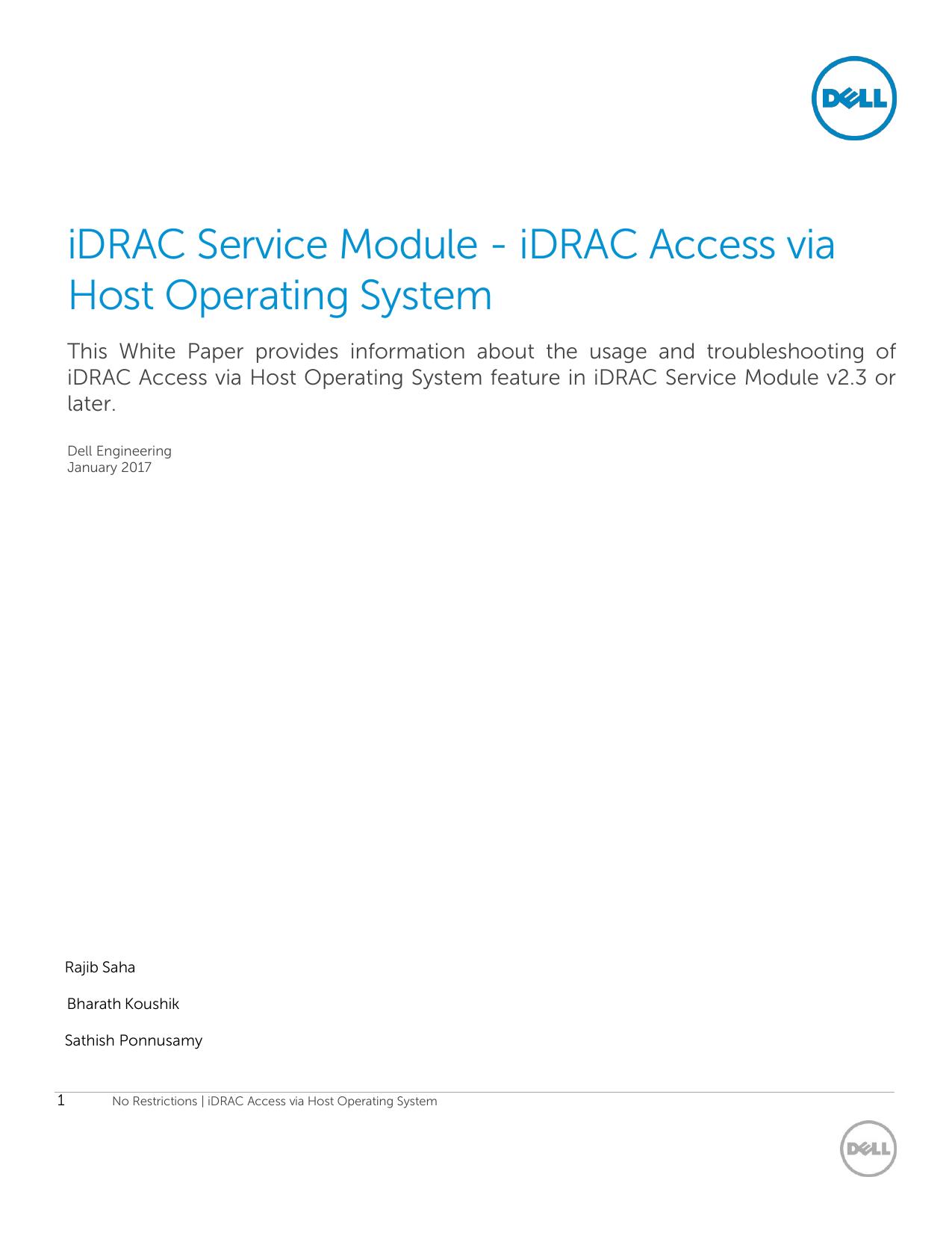 iDRAC Service Module   iDRAC Access via Host Operating System ...