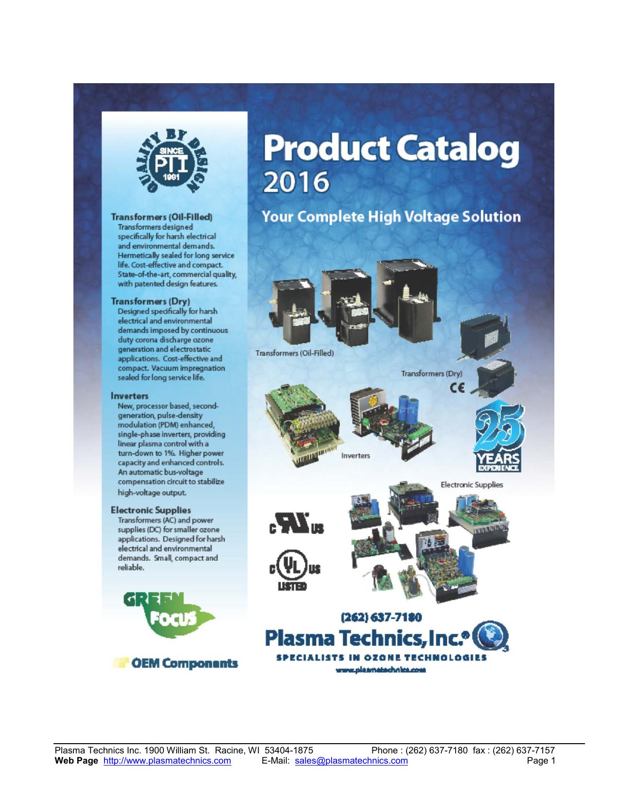 Product catalog - Plasma Technics | manualzz com