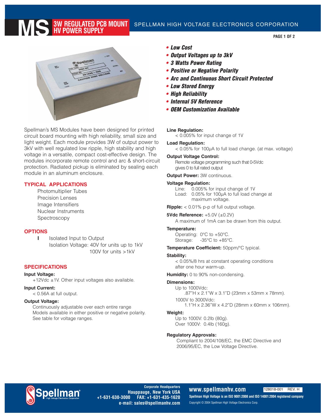 3 Watt Regulated Printer Circuit Board Mounted High Voltage
