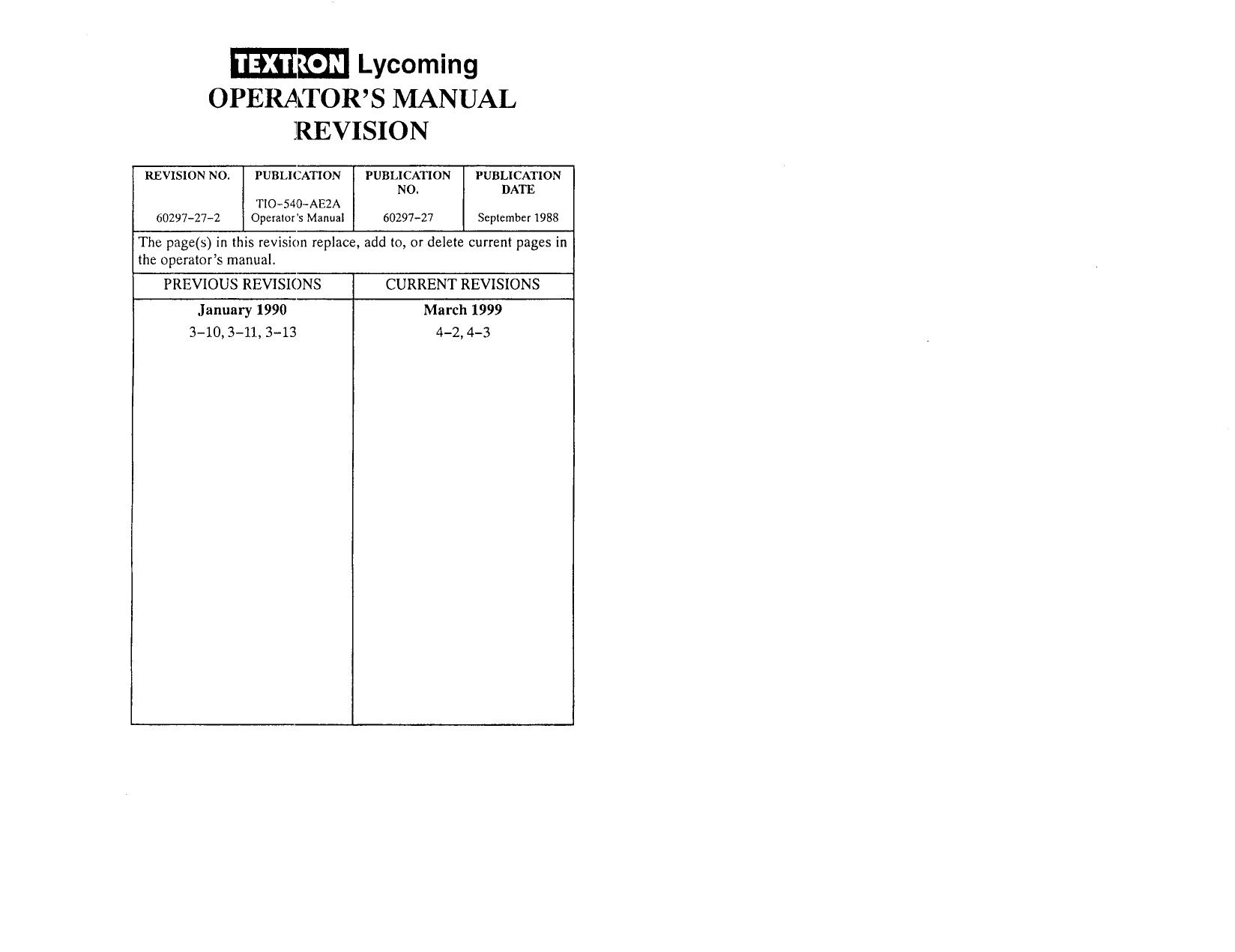 TEXTRON Lycoming Operator`s Manual 60297-27 | manualzz com