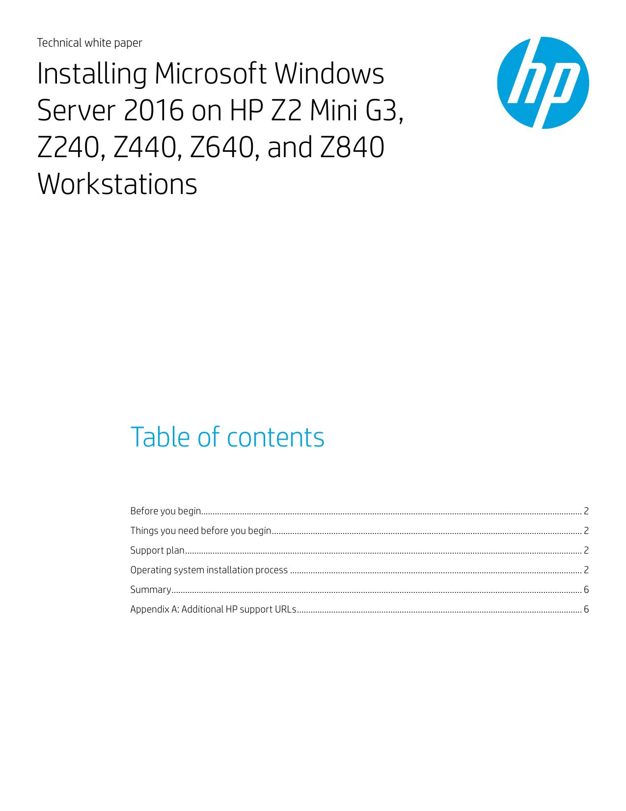 Installing Microsoft Windows Server 2016 on HP Z2 Mini G3