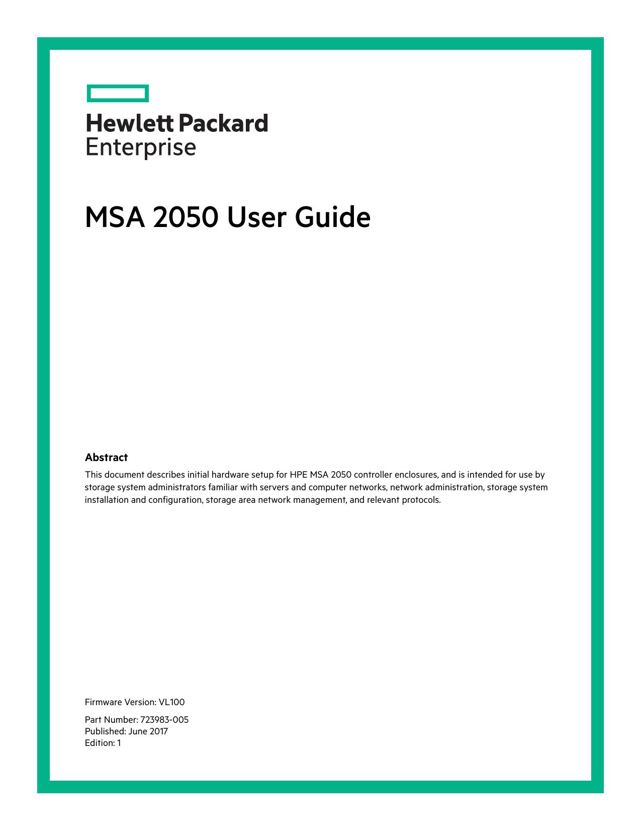 HPE MSA 2050 User Guide (VL100) | manualzz com