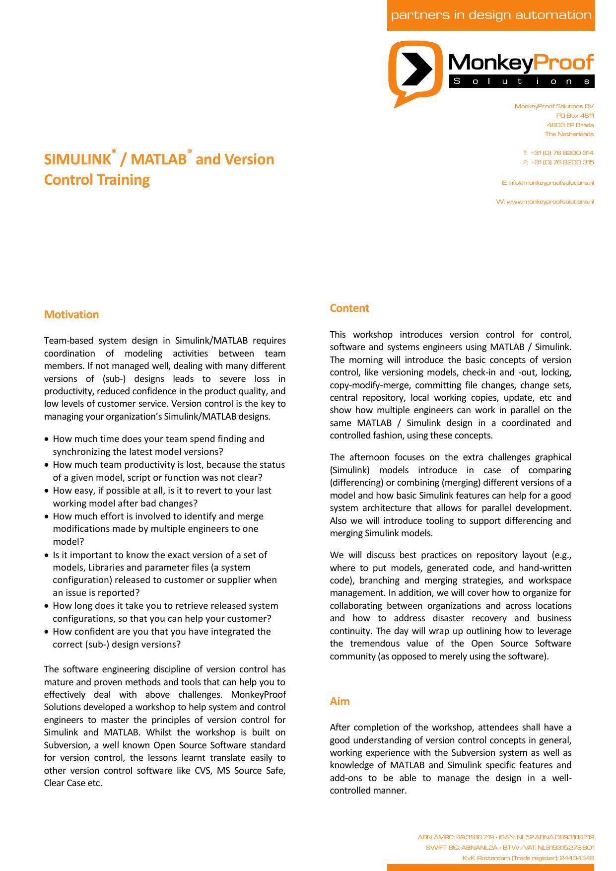 SIMULINK / MATLAB and Version Control Training | manualzz com