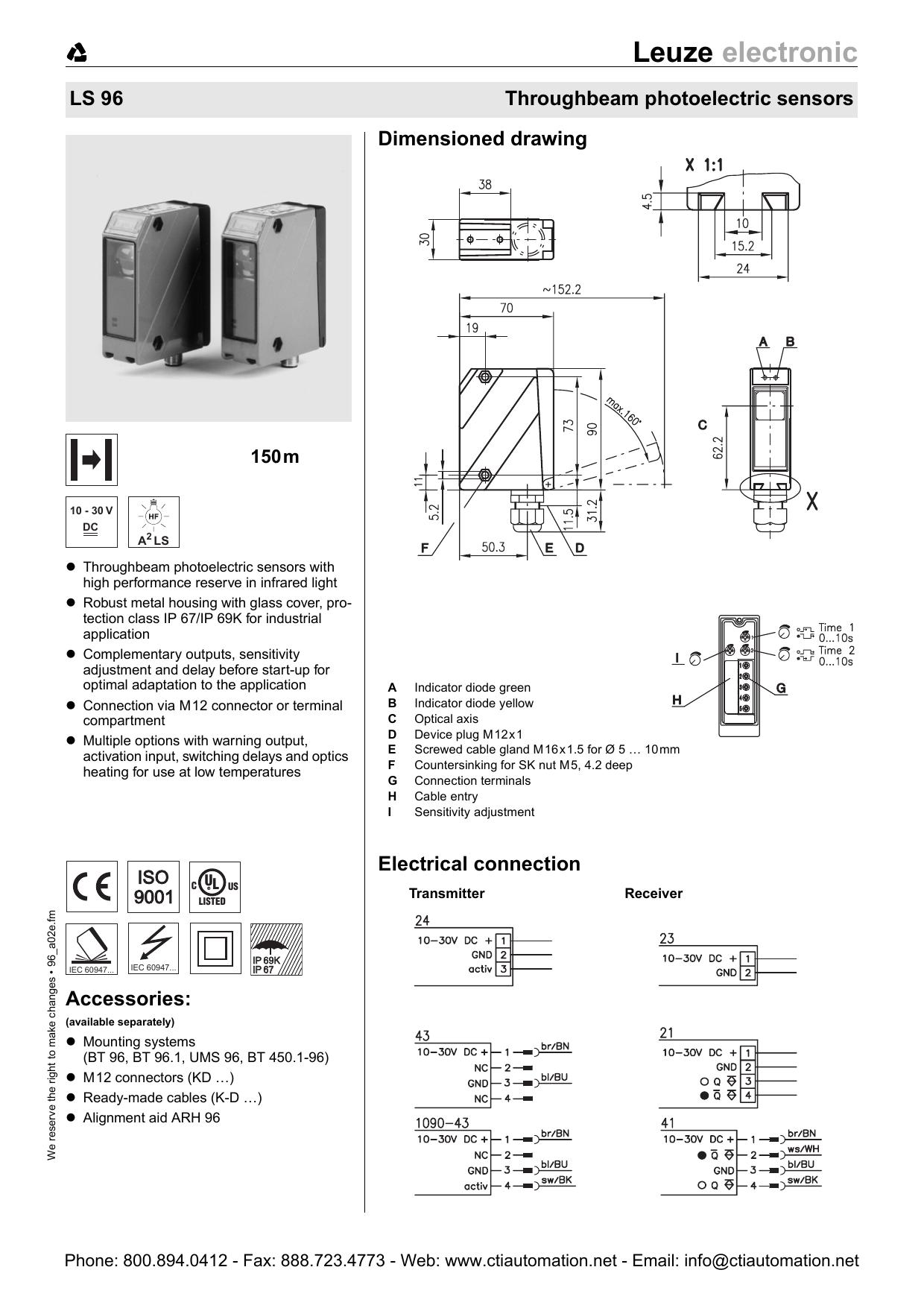 Leuze LS 96 Throughbeam Photoelectric Sensors | manualzz com
