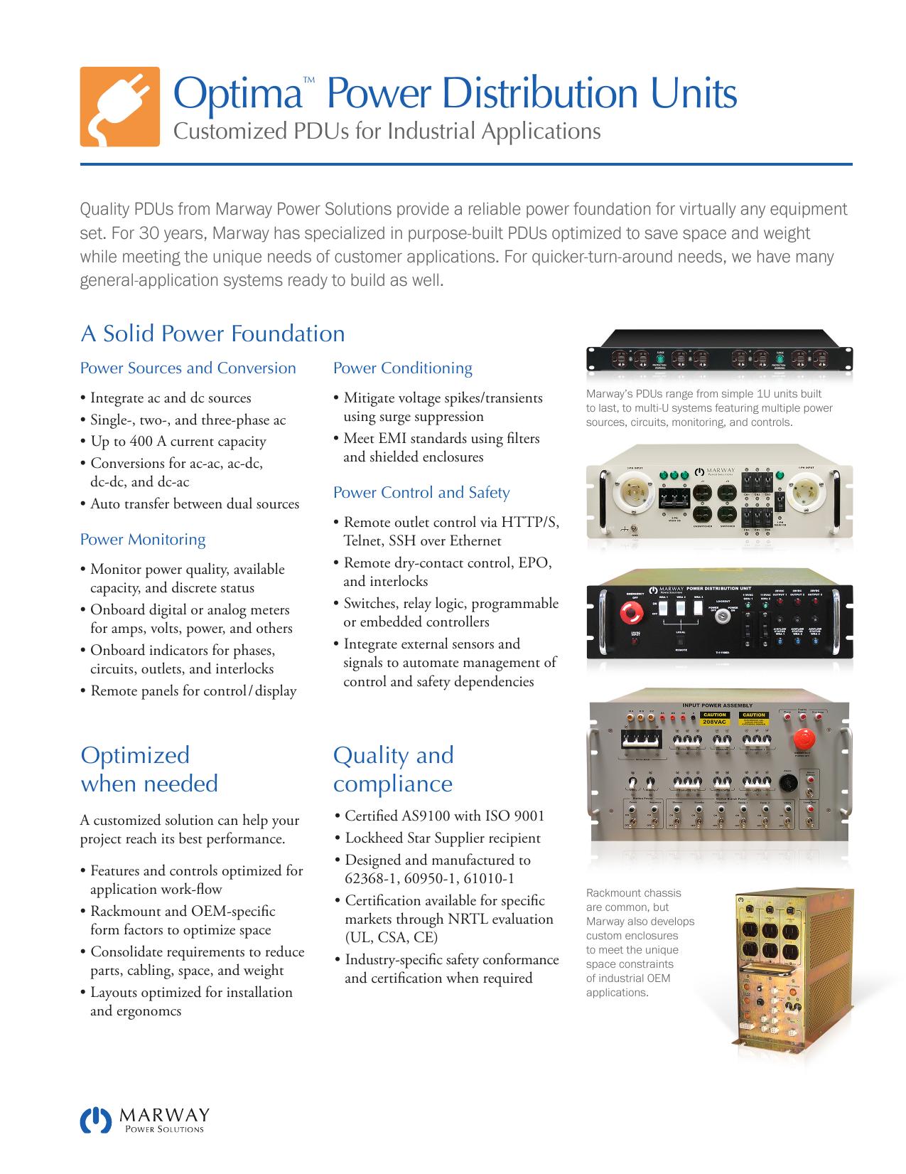 Optima™ Power Distribution Units | manualzz com