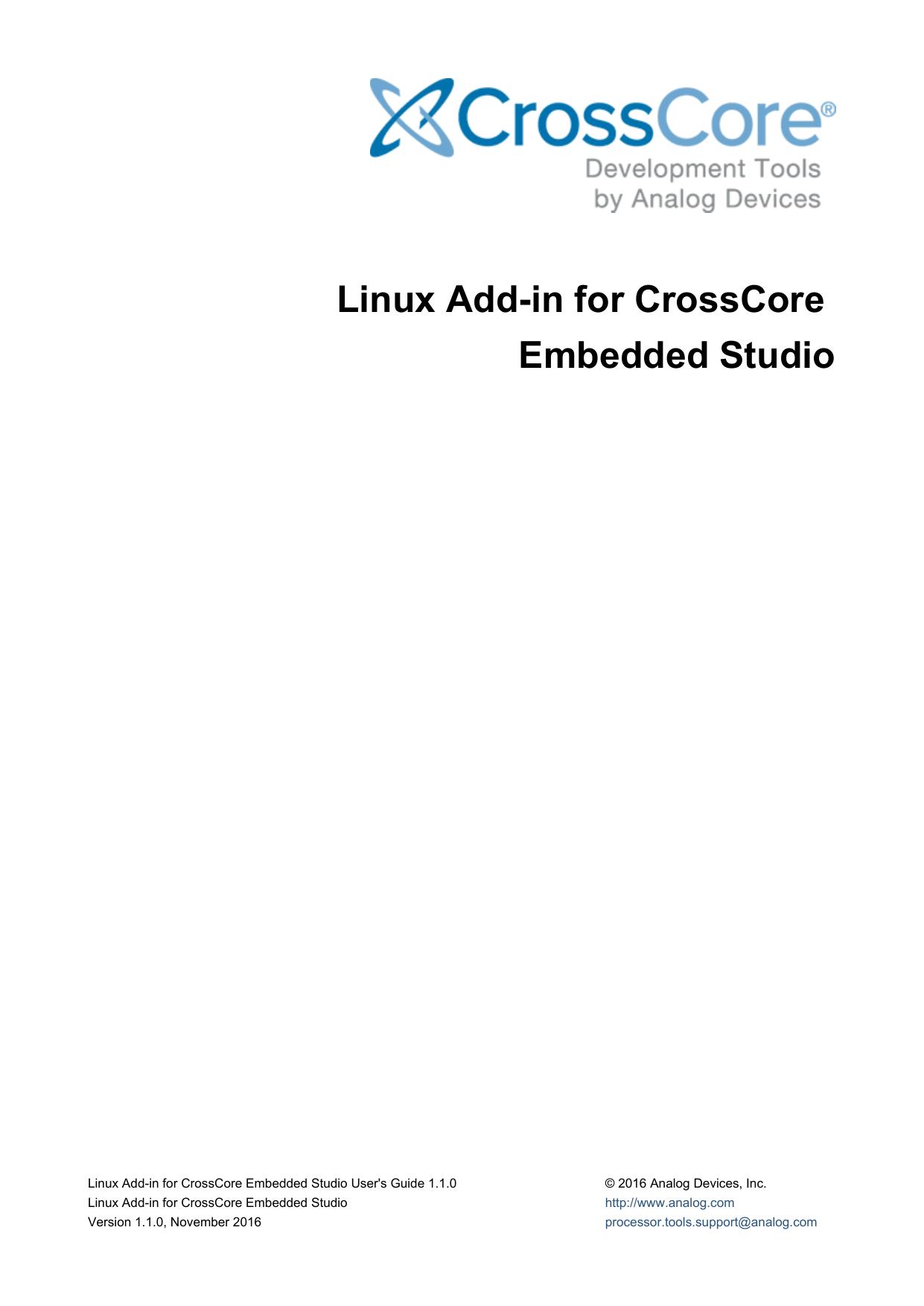Linux Add-in for CrossCore Embedded Studio   manualzz com