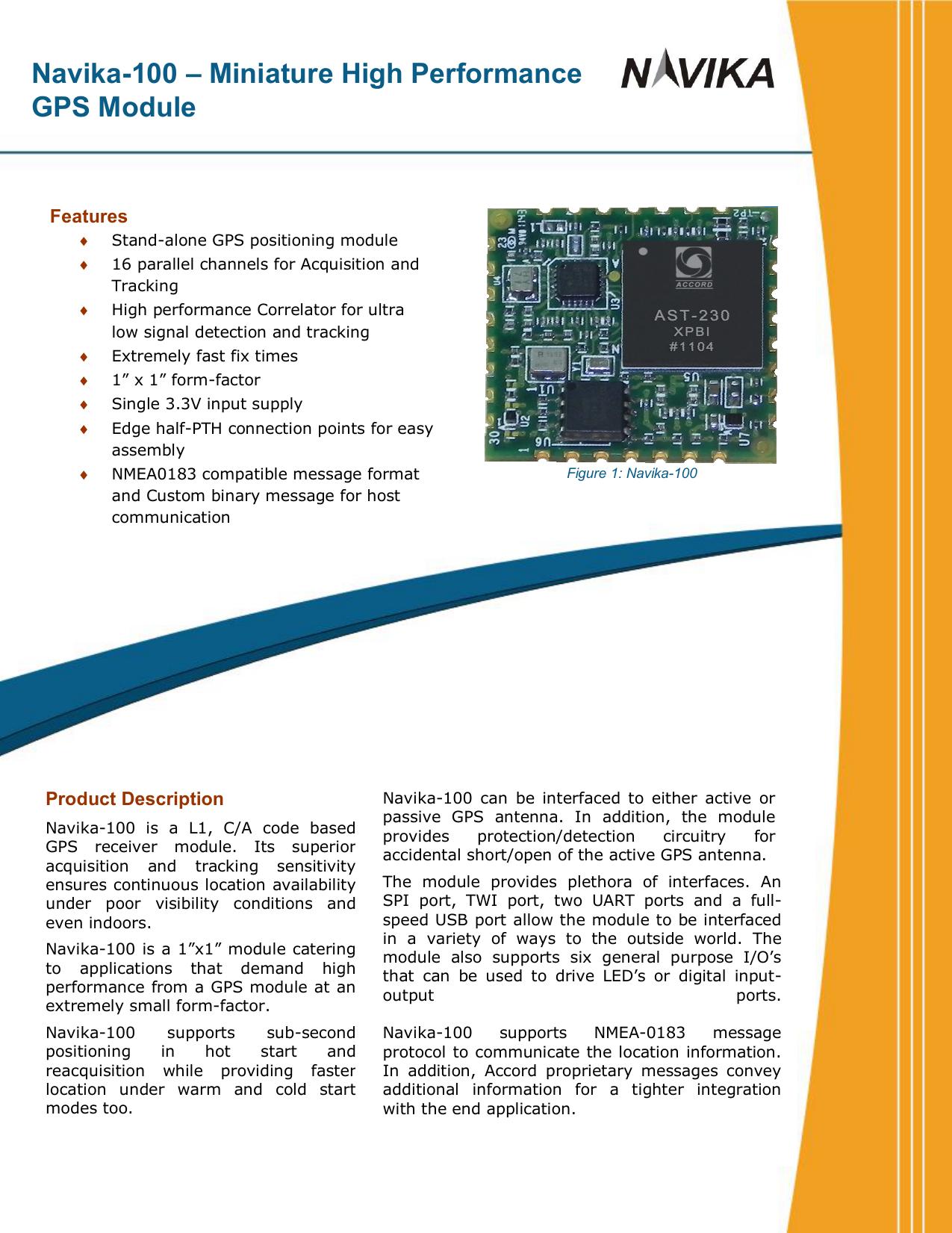 Navika-100 – Miniature High Performance GPS Module | manualzz com
