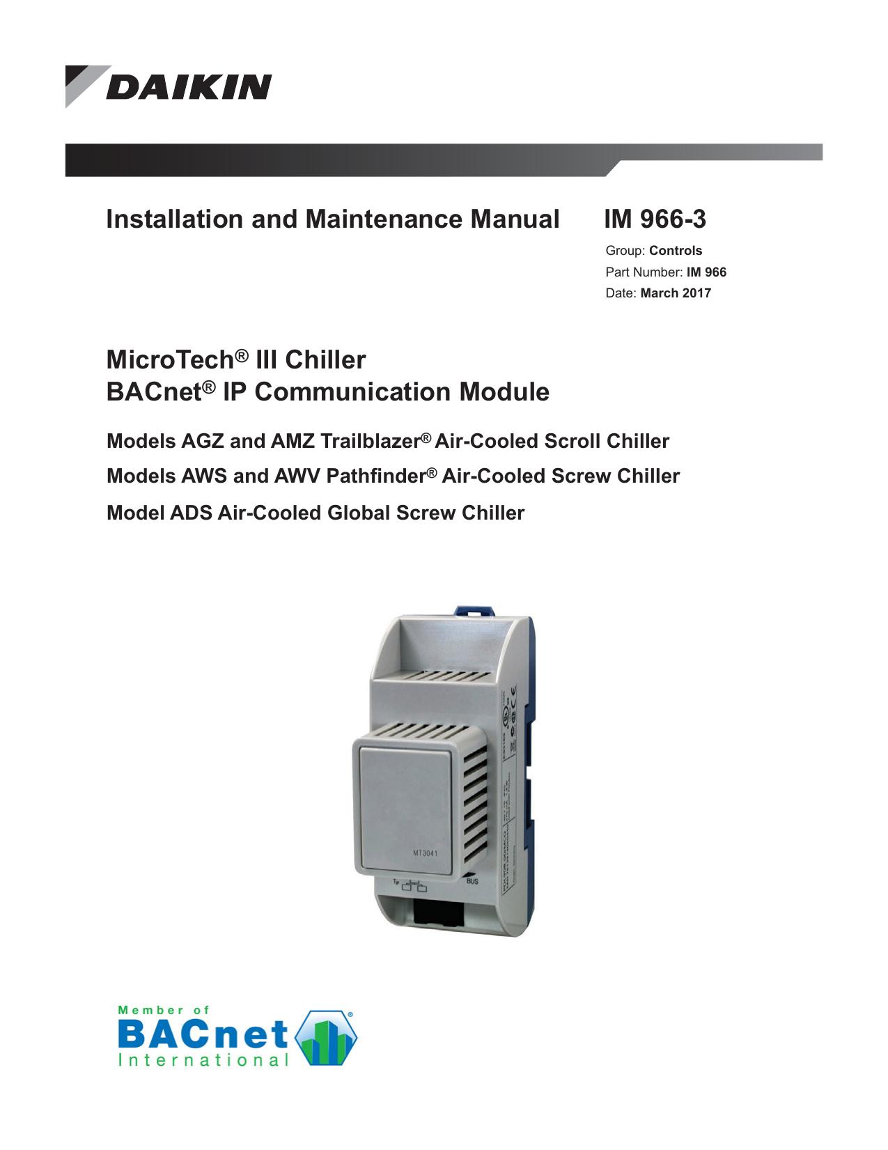 Daikin MicroTech® III Chiller BACnet® IP | manualzz.com