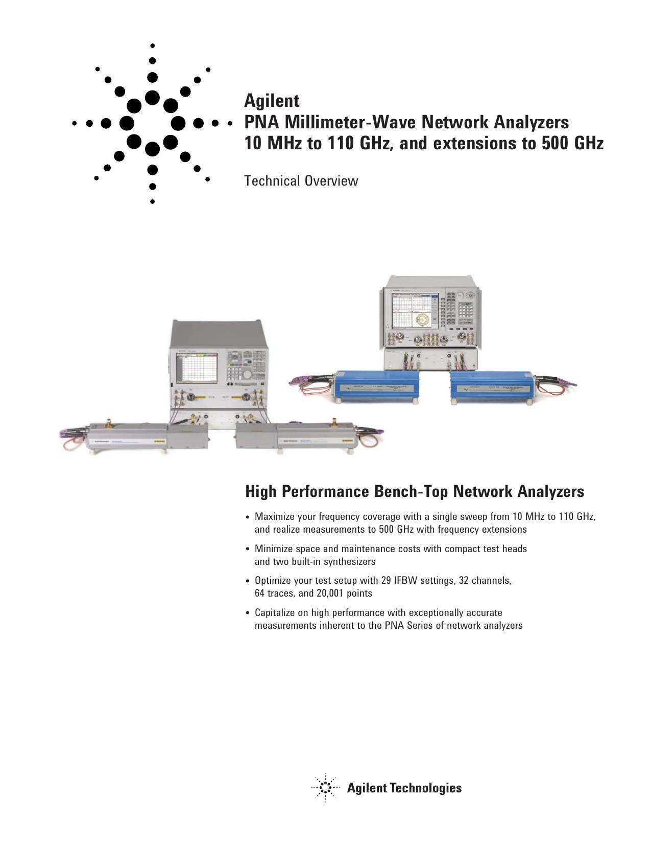 Agilent PNA Millimeter-Wave Network Analyzers 10 MHz to 110 GHz