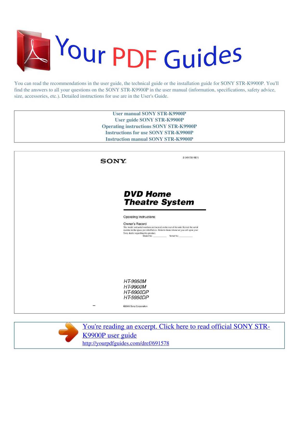 operating instructions sony str k9900p manualzz com rh manualzz com Instruction Manual Sony DAV HDX576WF Manual