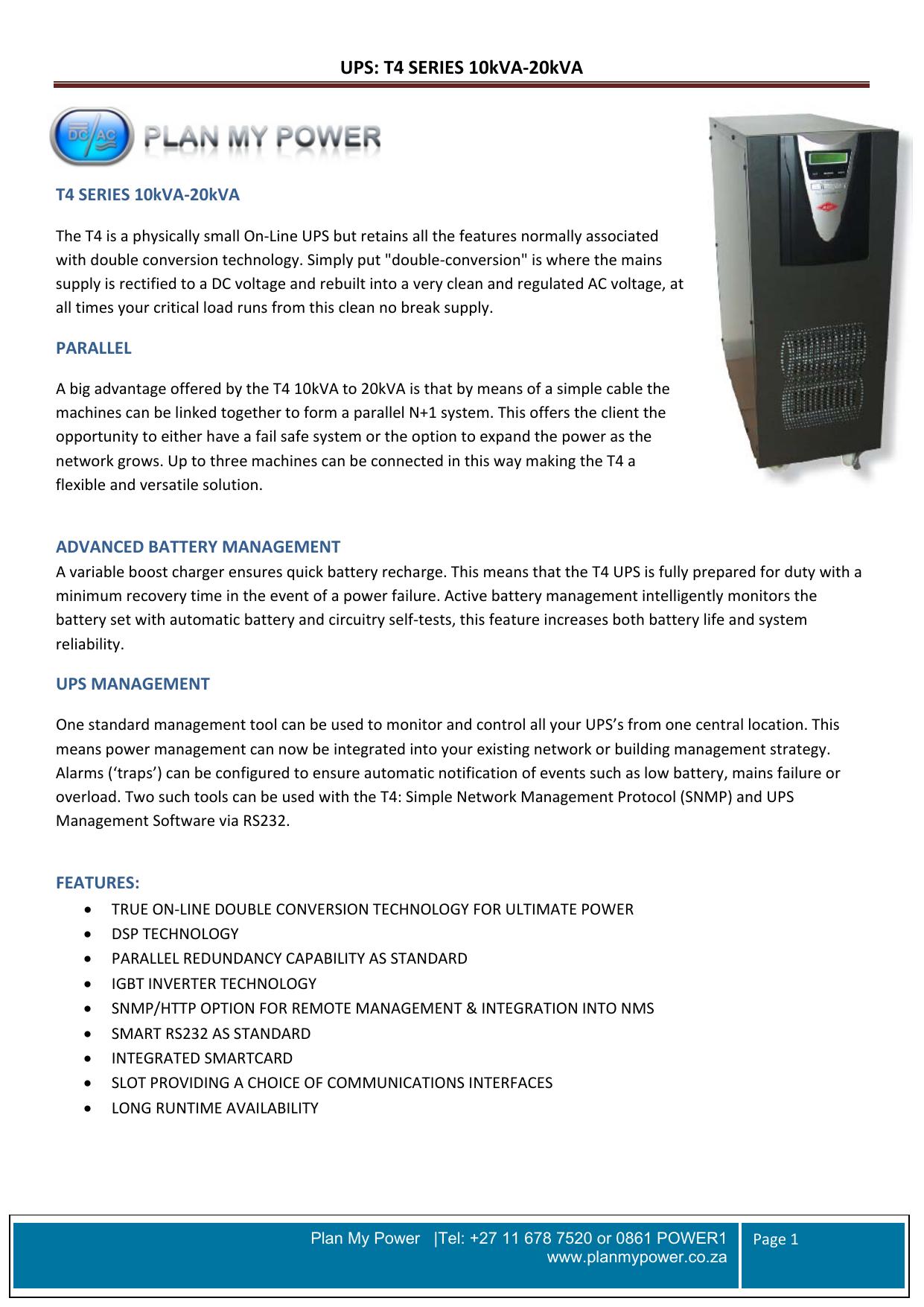 Ups T4 Series 10kva 20kva How To Build Mains Supply Failure Alarm