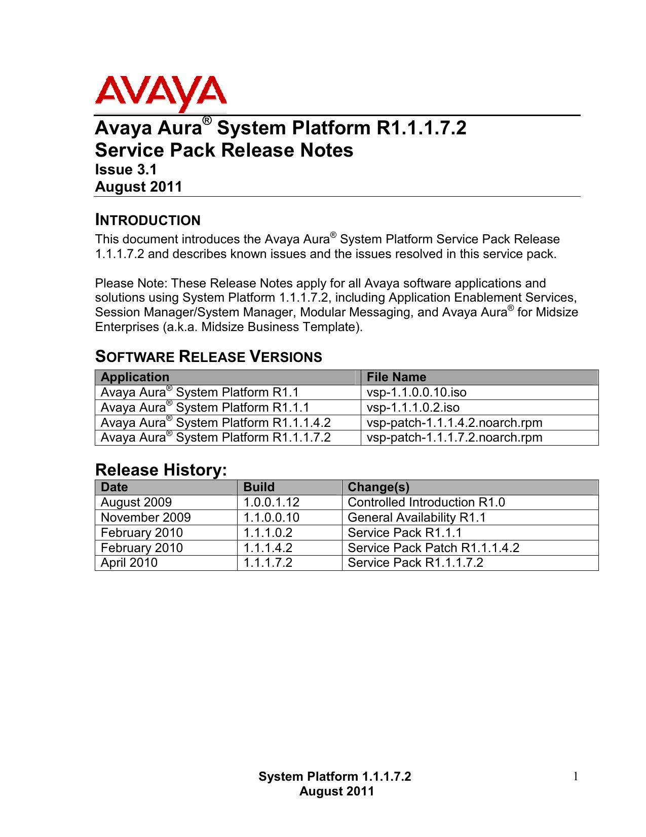 Avaya Aura System Platform R1 1 1 7 2 Service | manualzz com