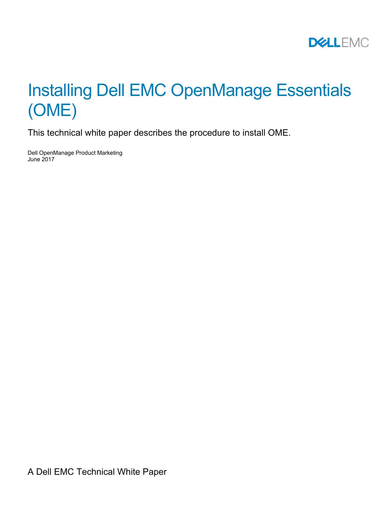 Installing Dell EMC OpenManage Essentials OME   Manualzz
