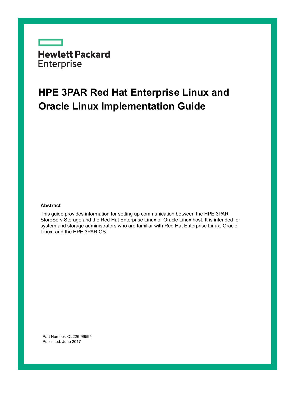HPE 3PAR Red Hat Enterprise Linux and Oracle Linux