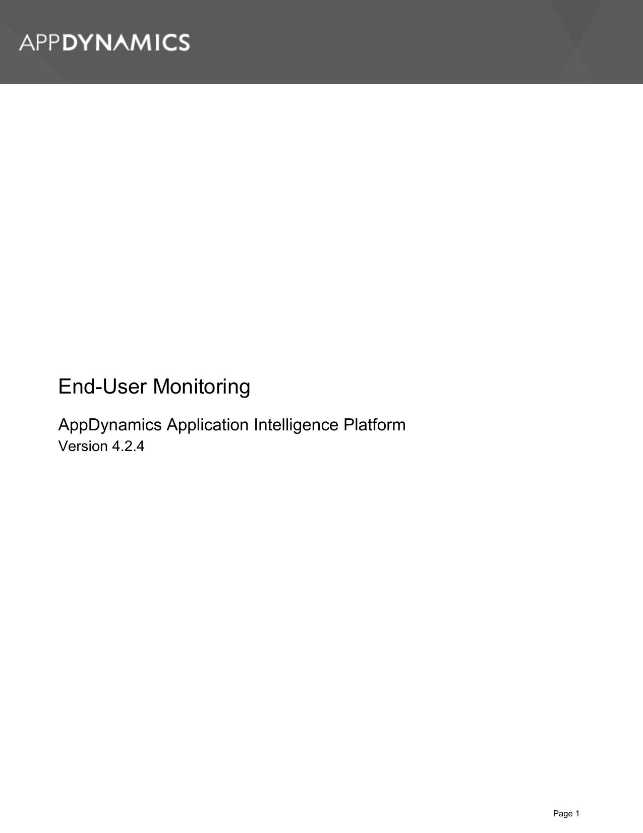 End-User Monitoring - AppDynamics Documentation | manualzz com