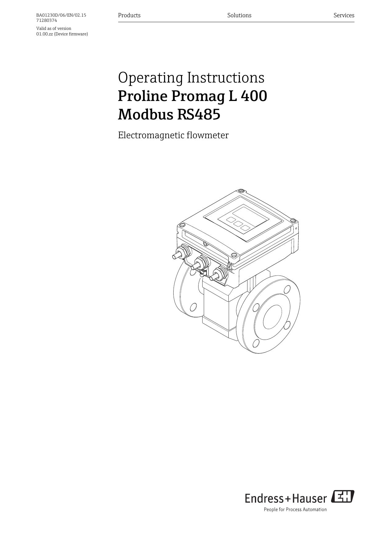 Proline Promag L 400 Modbus RS485 | manualzz com