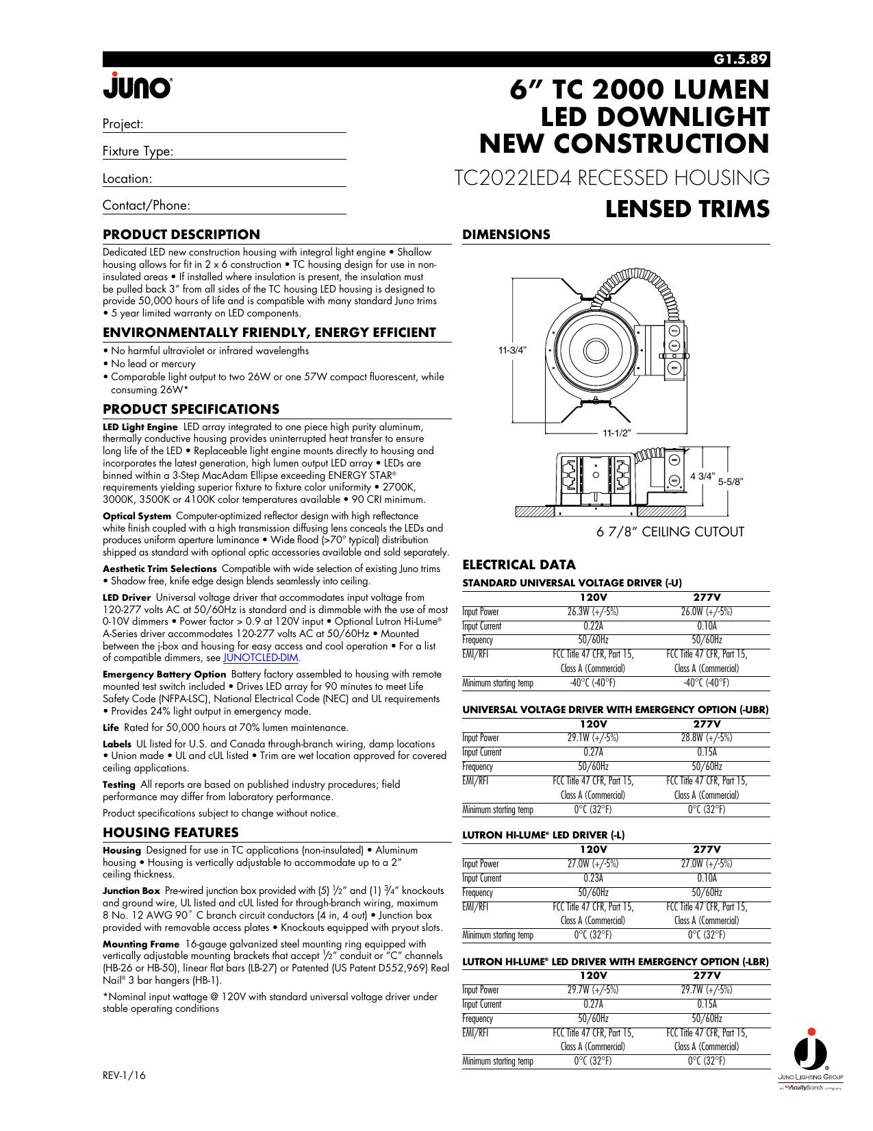 "6"" tc 2000 lumen led downlight new construction | manualzz com"