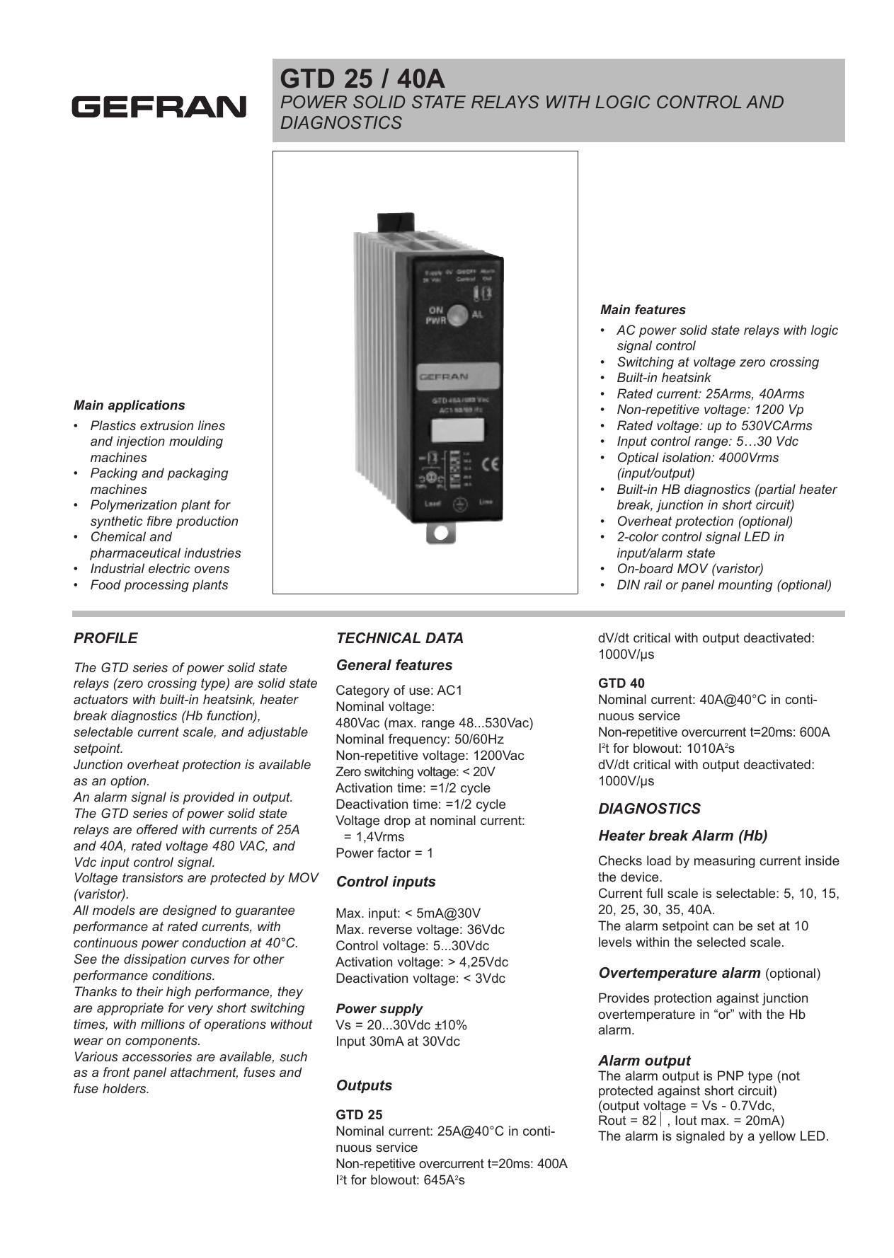 GEFRAN GTF-25-480-1-0-0-0 POWER CONTROLLER NEW